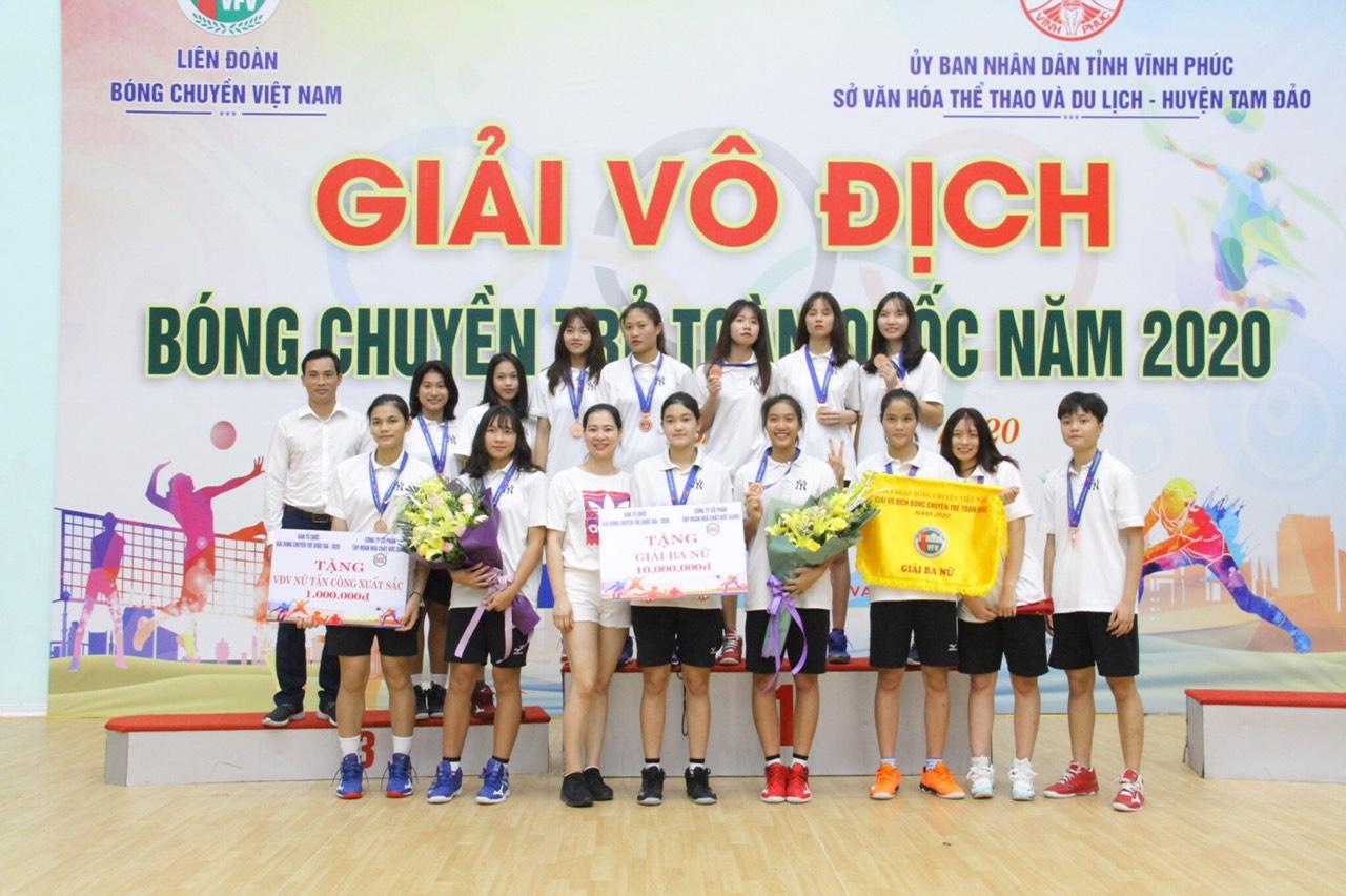 Đội bóng chuyền nữ Ngân Hàng Công Thương nằm trong top 3 đội mạnh nhất tại Giải Vô địch bóng chuyền trẻ toàn quốc 2020